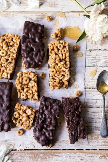 Chocolate Dipped Peanut Butter and Honey Cheerio Bars.
