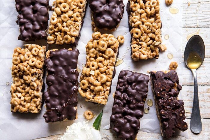 overhead horizontal photo Chocolate Dipped Peanut Butter and Honey Cheerio Bars