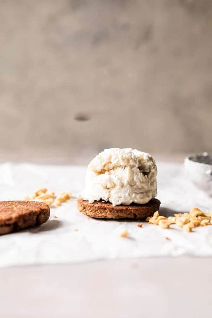 front on photo of Peanut Cookie with ice cream scoop