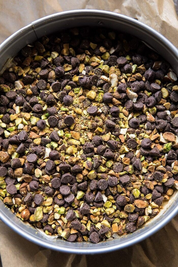 prep photo of nuts and chocolate mix for Easy Pistachio Chocolate Baklava