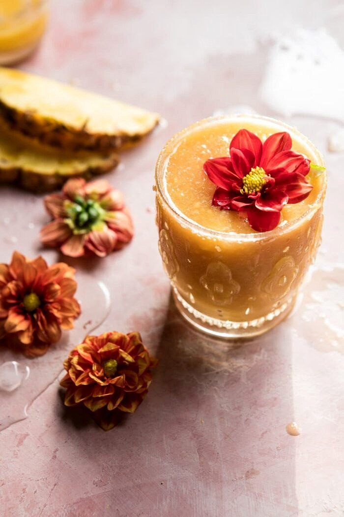 side angle photo of Frozen Brunch Punch with flowers