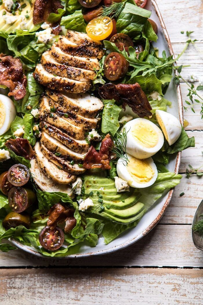 close up photo of Balsamic Grilled Chicken Cobb Salad