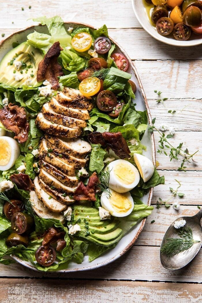 side angle over head photo of Balsamic Grilled Chicken Cobb Salad