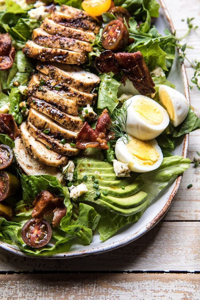 close up overhead photo of Balsamic Grilled Chicken Cobb Salad