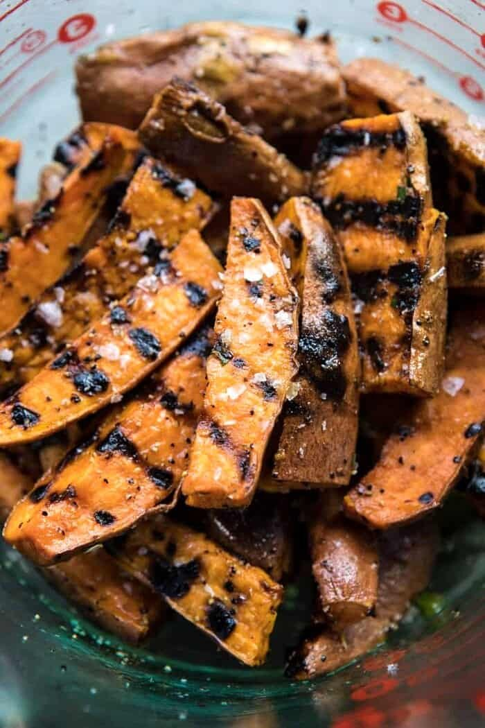 overhead photos of grilled Sweet Potatoes