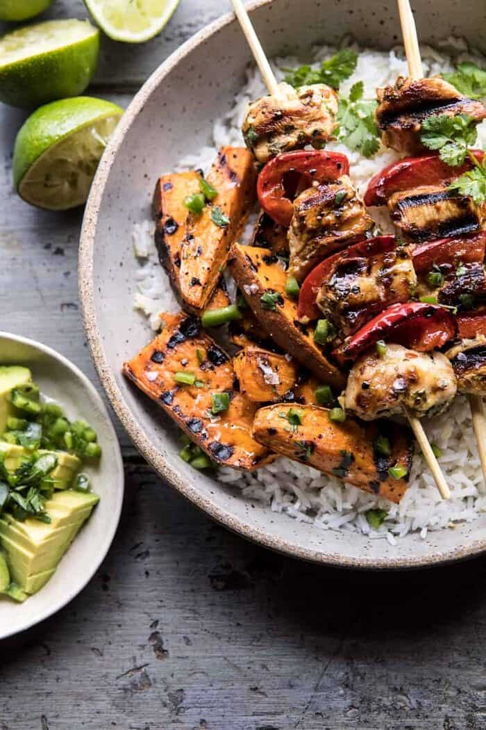 close up photo of Grilled Chili Honey Lime Chicken and Sweet Potatoes with Avocado Salsa