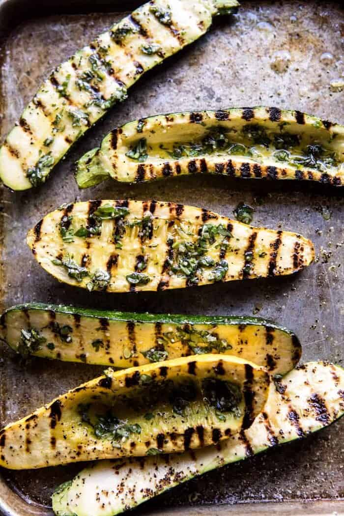 overhead photo of grilled zucchini