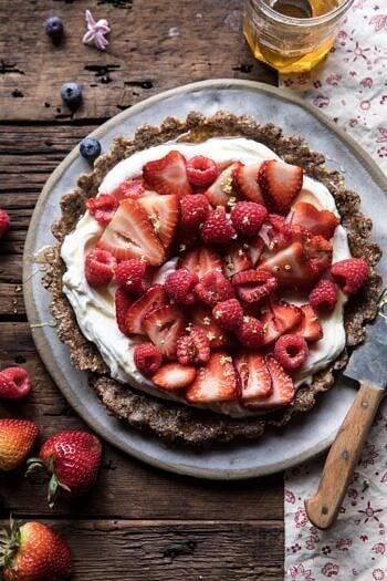 No Bake Greek Yogurt Fruit Tart   halfbakedharvest.com #summer #easyrecipes #healthy #nobake
