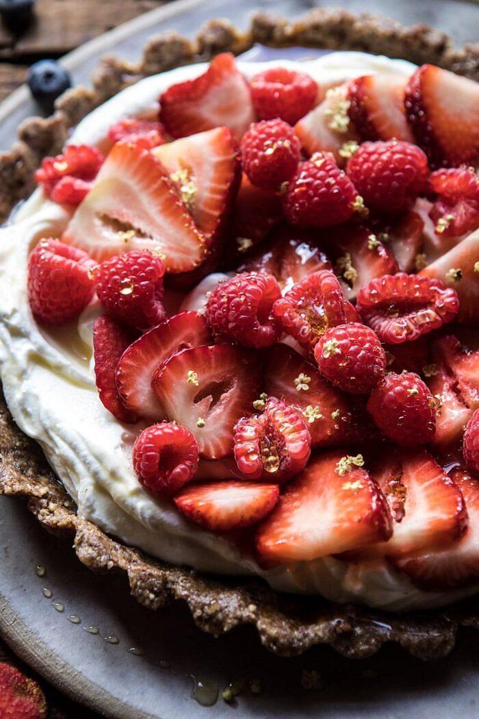 side angle photo of No Bake Greek Yogurt Fruit Tart