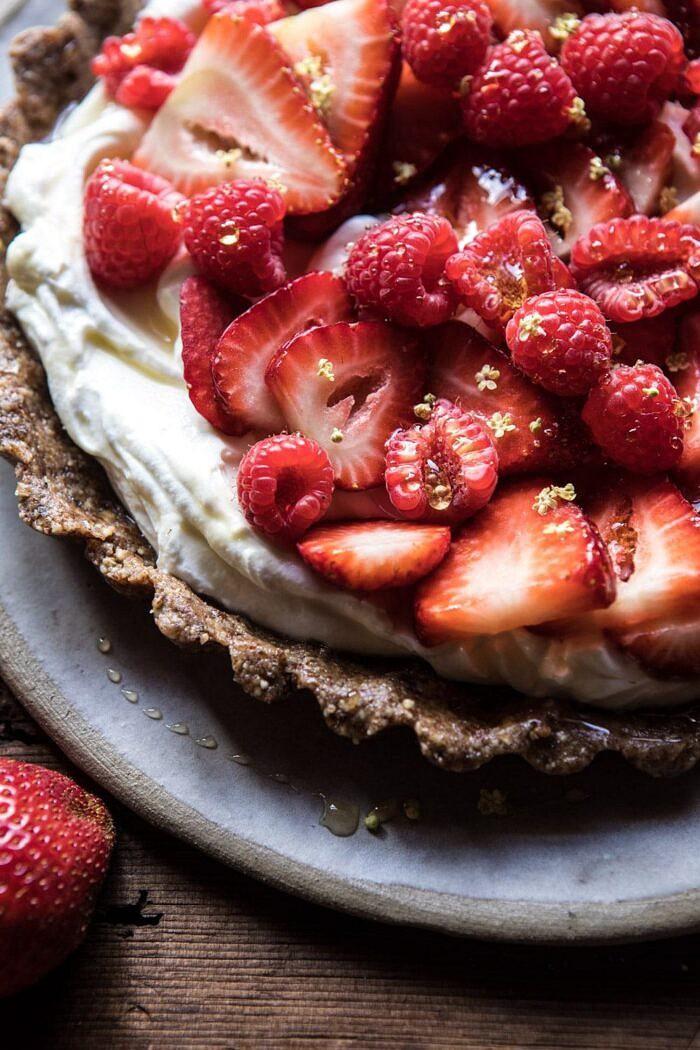 close up side angle photo of No Bake Greek Yogurt Fruit Tart