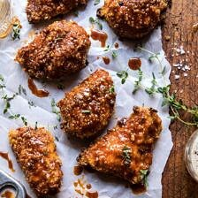 Oven Fried Southern Hot Honey Chicken.