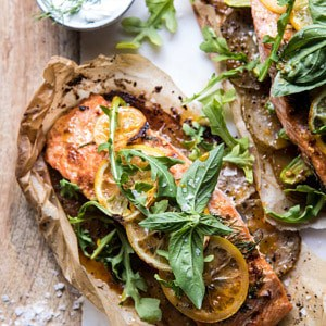 Parchment Baked Lemon Salmon and Potatoes with Dill Yogurt.
