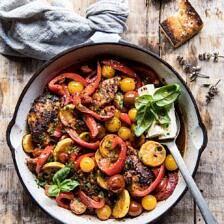 Skillet Lemon Pepper Chicken and Garden Veggies with Feta and Basil | halfbakedharvest.com #chicken #easyrecipes #summer