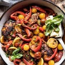 Skillet Lemon Pepper Chicken and Garden Veggies with Feta and Basil.