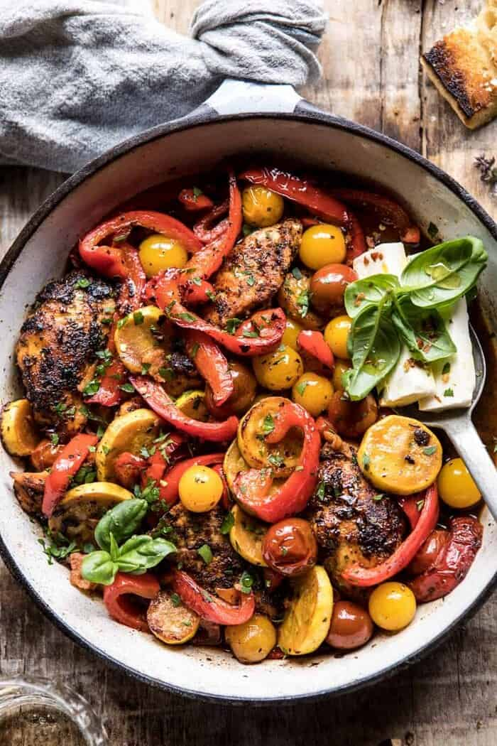 Skillet Lemon Pepper Chicken and Garden Veggies with Feta and Basil | halfbakedharvest.com #chicken #easyrecipes #summer