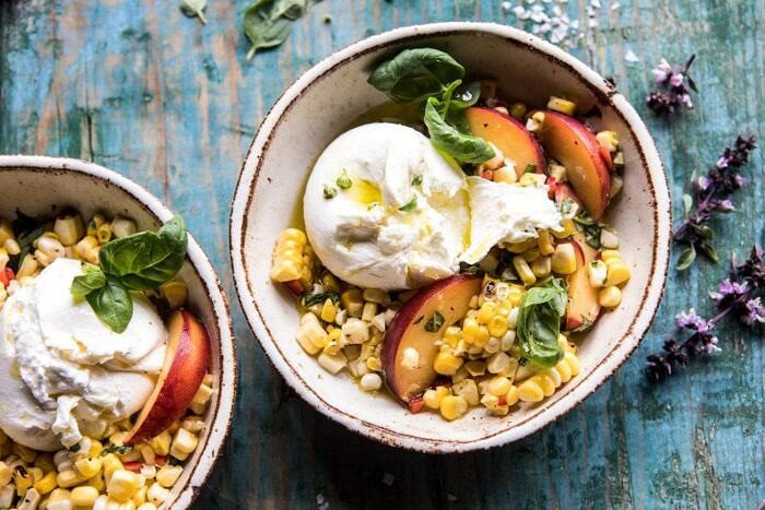 horizontal photo of Spicy Corn and Peaches with Burrata