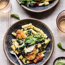 Spring Chicken Parmesan with Tuscan Kale Pesto.