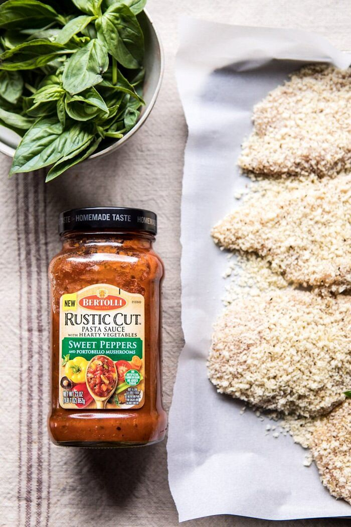 prep photo with pasta sauce and Spring Chicken Parmesan