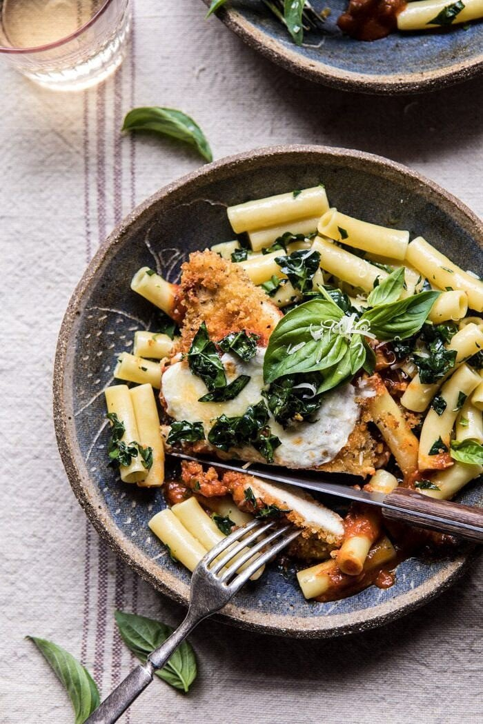 cut into photo of Spring Chicken Parmesan with Tuscan Kale Pesto