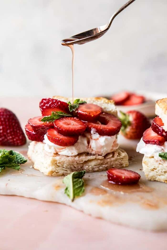front on drizzle photo of Strawberry Bourbon Shortcakes