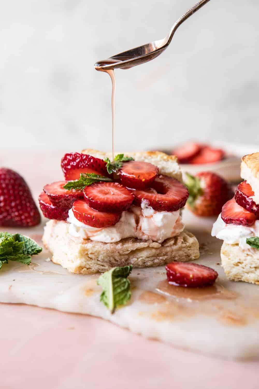 Strawberry Bourbon Shortcakes | halfbakedharvest.com #strawberries #shortcake #spring #summer #easyrecipe