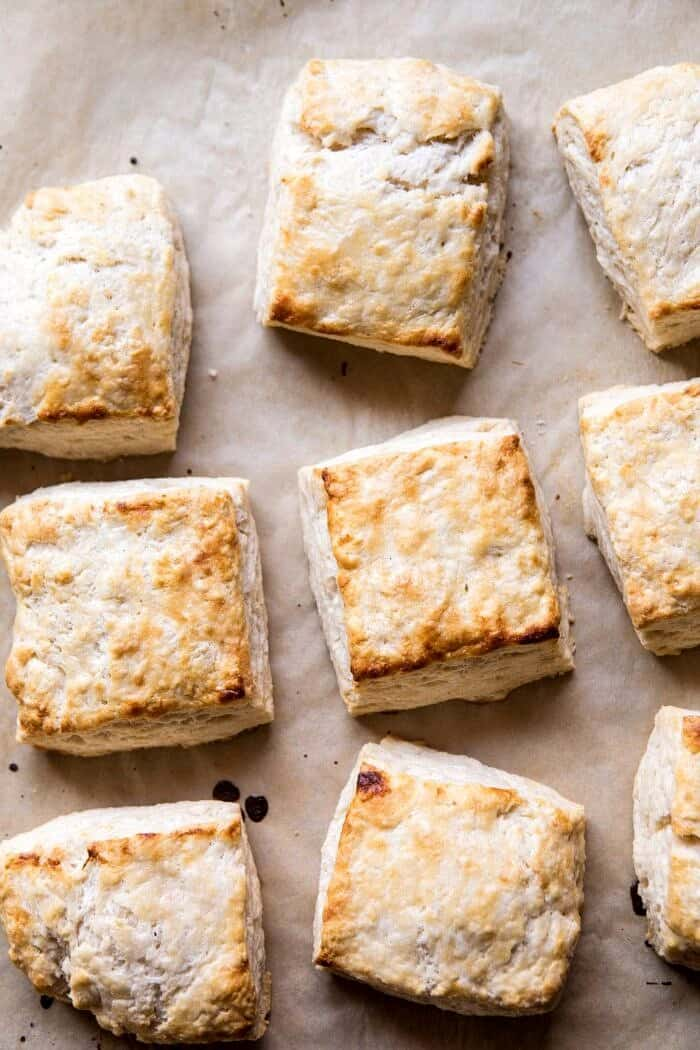 overhead photo if biscuits for Strawberry Bourbon Shortcakes