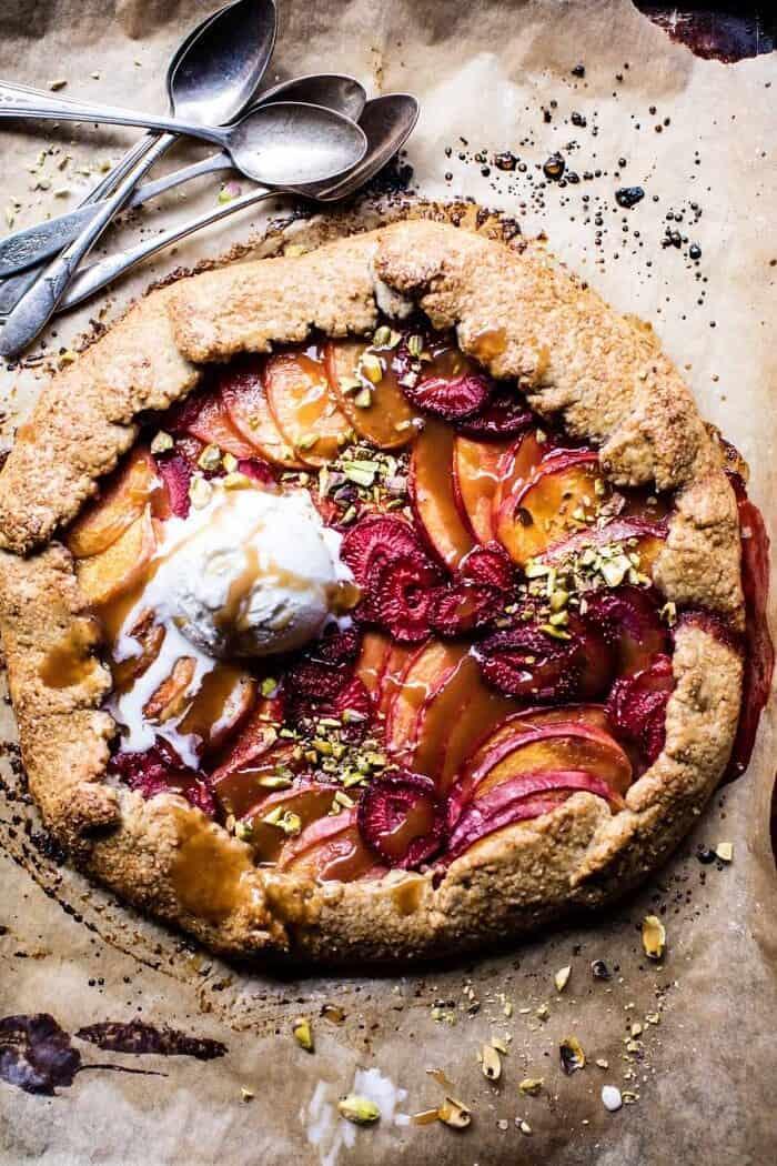 Strawberry Peach Galette | halfbakedharvest.com #hbhcookbook #summerdessert