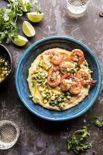 Sweet Corn Chimichurri Butter Shrimp with Polenta | halfbakedharvest.com #summer #shrimp #easyrecipes