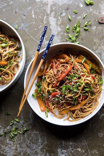 Weeknight 20 Minute Spicy Udon Noodles.