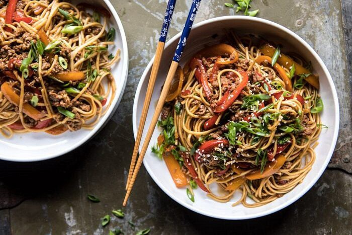overhead horizontal photo of Weeknight 20 Minute Spicy Udon Noodles