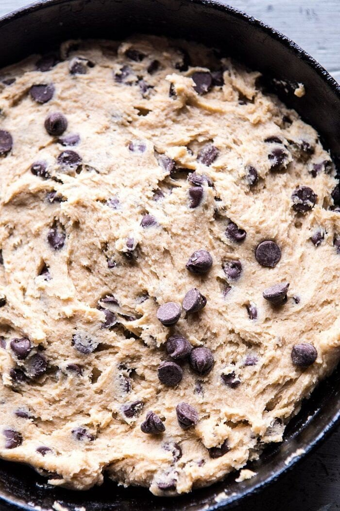 overhead photo of unbaked Whole Wheat Chocolate Chip Skillet Cookie