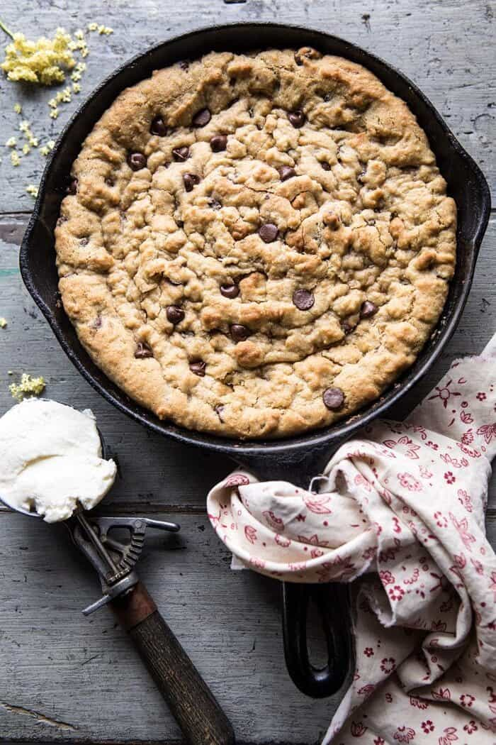 overhead photo of Whole Wheat Chocolate Chip Skillet Cookie without ice cream