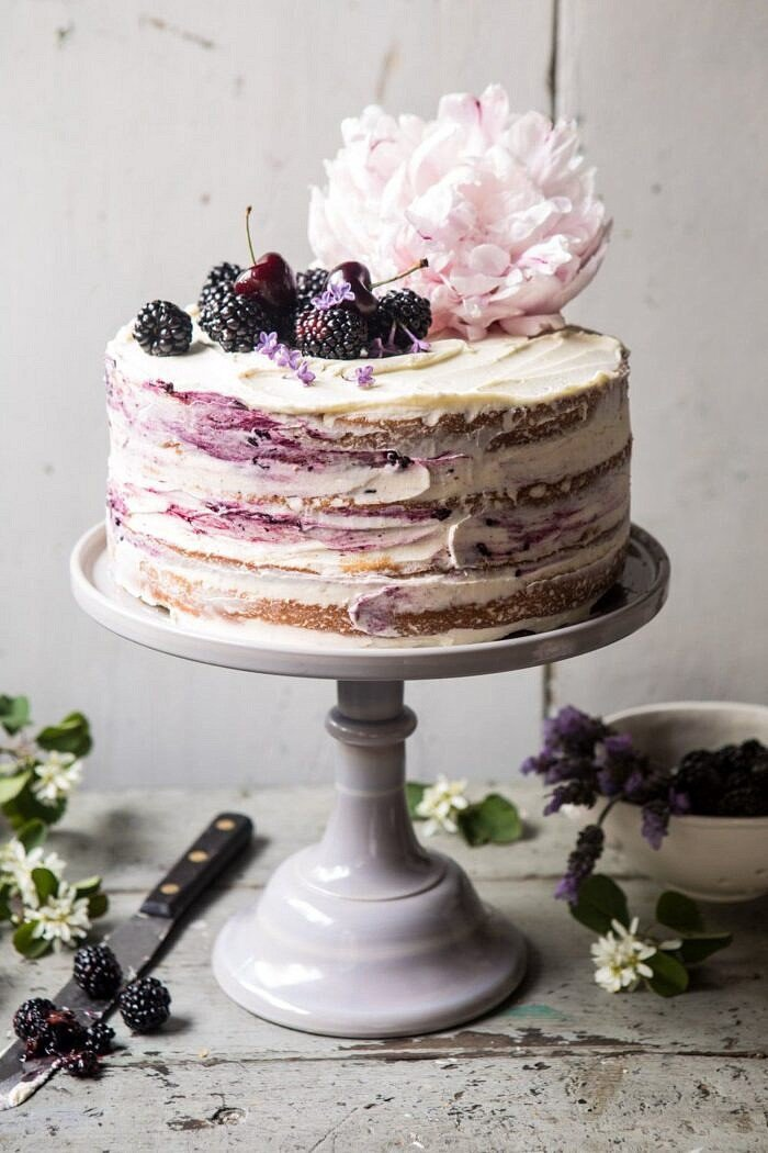 Blackberry Lavender Naked Cake with White Chocolate Buttercream.