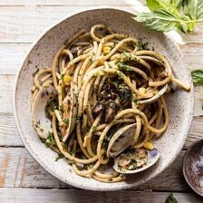 Buttery Mushroom and Clam Pasta.