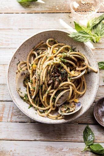 Buttery Mushroom and Clam Pasta | halfbakedharvest.com #pasta #easyrecipe #summerrecipes