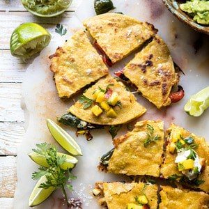 Grilled Vegetable and Cheese Quesadillas with Mango Salsa.