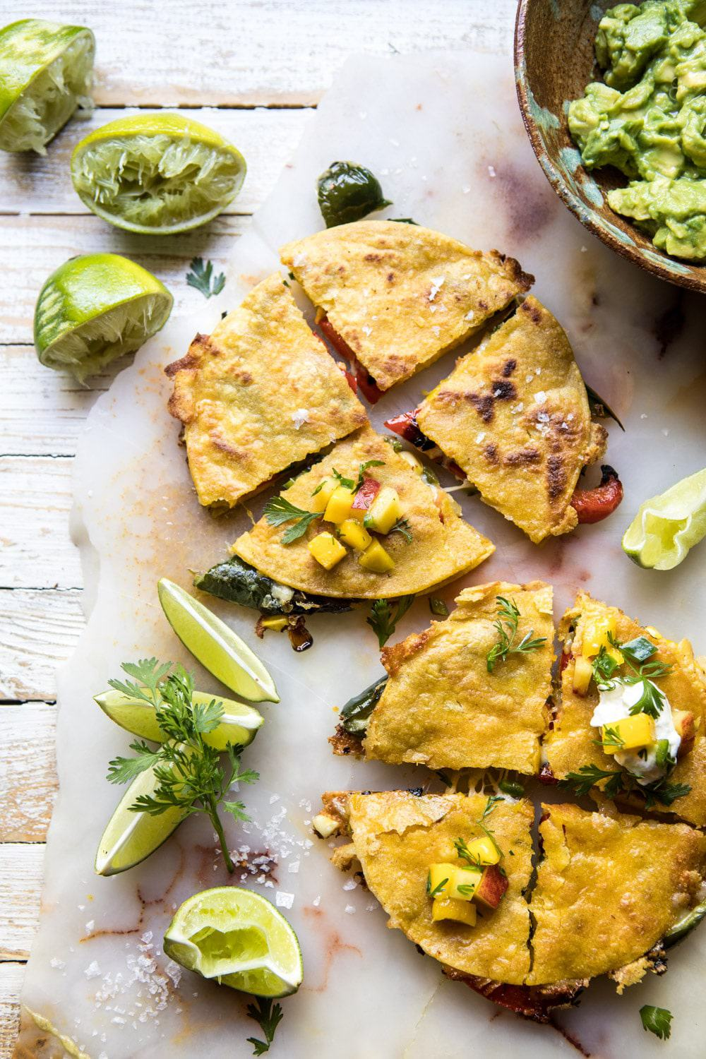 Grilled Vegetable and Cheese Quesadillas with Mango Salsa | halfbakedharvest.com #summerrecipes #grilled recipe #mexican