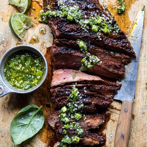 Korean Grilled Steak with Toasted Sesame Chimichurri.