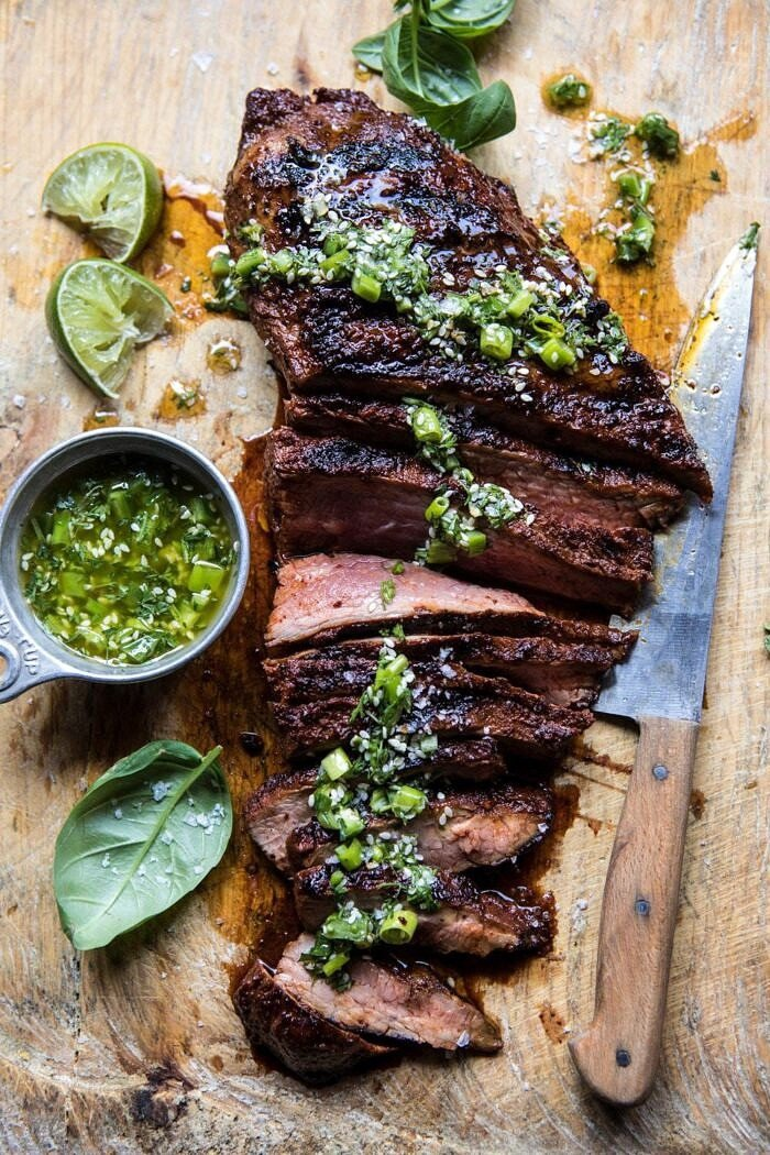 Korean Grilled Steak with Toasted Sesame Chimichurri | halfbakedharvest.com #summergrilling #easyrecipes #dinner #steakrecipes