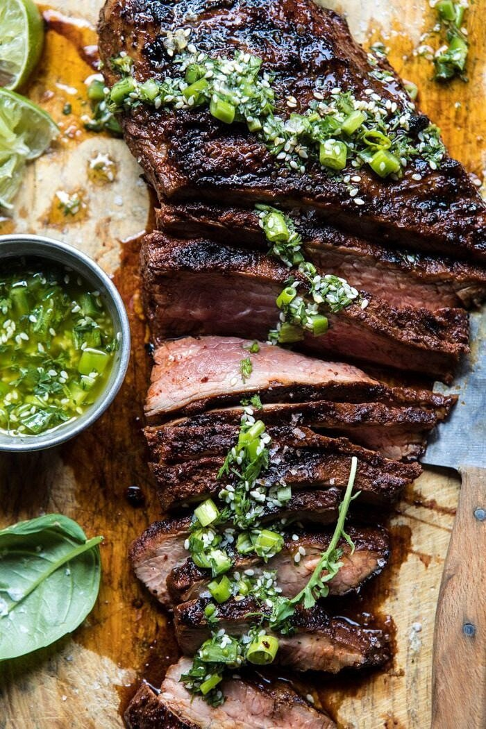 overhead close up photo of Korean Grilled Steak with Toasted Sesame Chimichurri