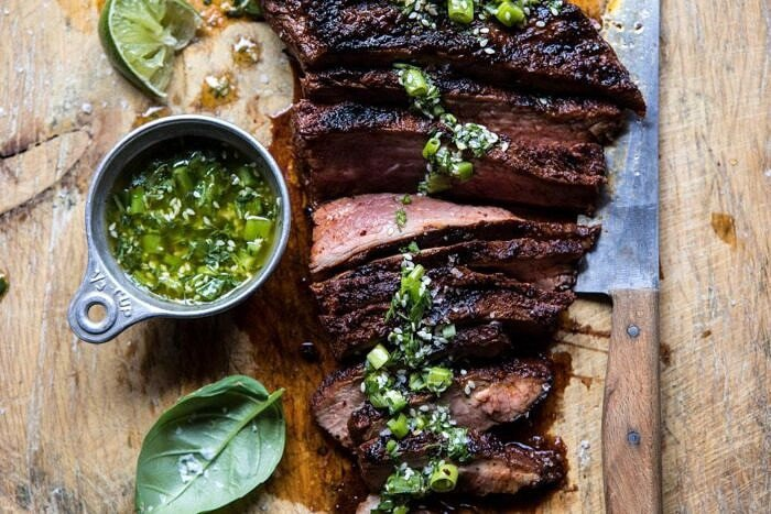 horizontal photo of Korean Grilled Steak with Toasted Sesame Chimichurri