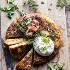Spanish Tortilla with Burrata and Herbs.