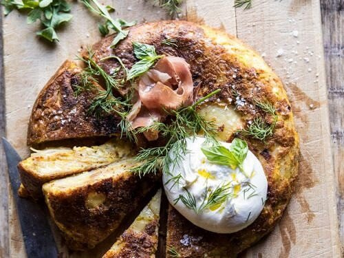 Spanish Tortilla With Burrata And Herbs