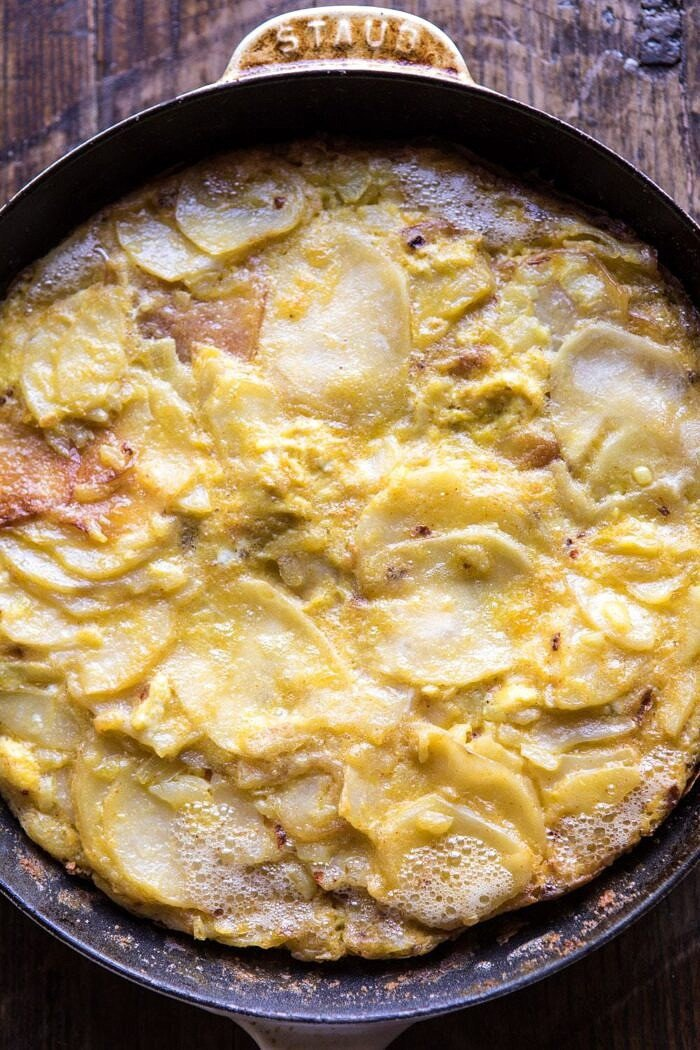 overhead photo Spanish Tortilla in skillet