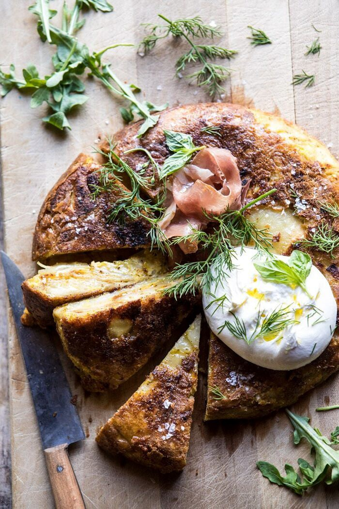 overhead close up photo of Spanish Tortilla with Burrata and Herbs