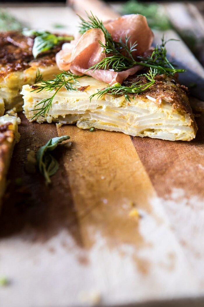 side angle photo of Spanish Tortilla with Burrata and Herbs