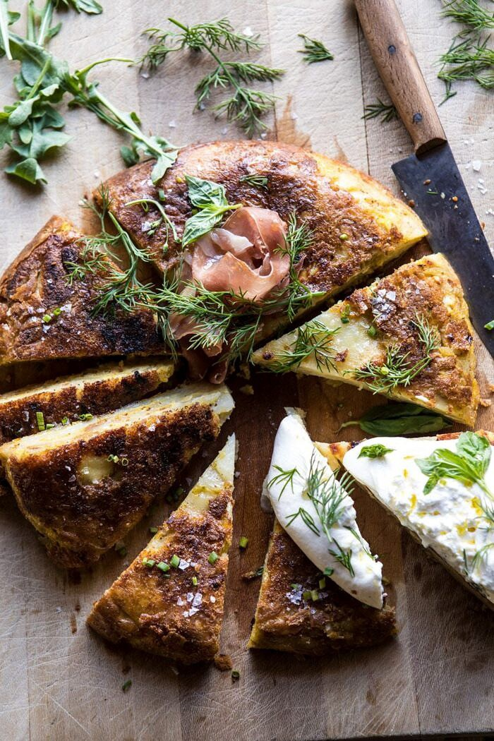 overhead cut into photo Spanish Tortilla with Burrata and Herbs