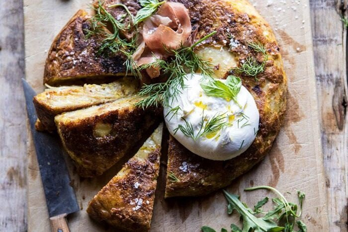 horizontal photo of Spanish Tortilla with Burrata and Herbs