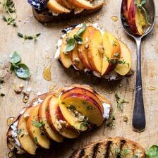 Thyme, Honey, Peach, and Goat Cheese Crostini.
