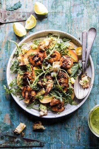 Zesty Grilled Shrimp, Bread and Sweet Peach Salad with Avocado Vinaigrette | halfbakedharvest.com #salad #shrimp #healthyrecipes #summerrecipes #grilling